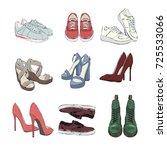 a set of autumn shoes.... | Shutterstock .eps vector #725533066