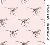 dinosaurs skeletons silhouettes ... | Shutterstock .eps vector #725540416
