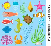 set aquatic funny sea animals... | Shutterstock .eps vector #725540956
