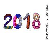 colorful number 2018. zentangle ... | Shutterstock .eps vector #725544862