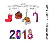 happy new year 2018. colorful... | Shutterstock .eps vector #725545606