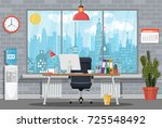 office building interior. desk... | Shutterstock .eps vector #725548492