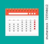 paper spiral wall calendar.... | Shutterstock .eps vector #725548612