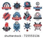 baseball logo badge sport team... | Shutterstock .eps vector #725553136