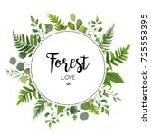 Floral vector invite card Design with green Eucalyptus fern leaves elegant greenery leaf herbal forest round circle wreath frame, border print. Vector garden botanical illustration, Wedding Invitation