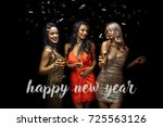 happy young women with glasses... | Shutterstock . vector #725563126