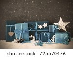 christmas gifts  snow  copy... | Shutterstock . vector #725570476