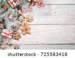 christmas background on wooden... | Shutterstock . vector #725583418