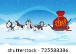 dogs sled team and santas red... | Shutterstock .eps vector #725588386