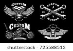set of 4 vintage biker... | Shutterstock .eps vector #725588512