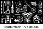 Motorcycle Vector Set With...