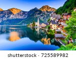 Stock photo hallstatt austria mountain village in the austrian alps 725589982