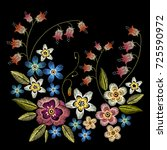 embroidery flowers. beautiful... | Shutterstock .eps vector #725590972