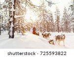 sledding with husky dogs in... | Shutterstock . vector #725593822