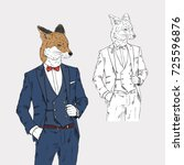 fox dressed up in classy style  ...   Shutterstock .eps vector #725596876