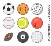sports balls vector set.... | Shutterstock .eps vector #725603002