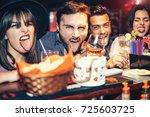 happy friends having fun... | Shutterstock . vector #725603725