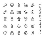 baby care thin line icon set.... | Shutterstock . vector #725604712