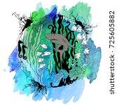 decorative element with a shark ... | Shutterstock . vector #725605882