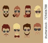 set of vector mustache  beards  ... | Shutterstock .eps vector #725606788