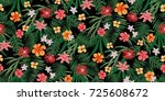 seamless tropical floral... | Shutterstock .eps vector #725608672