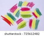 rasta flag crayon drawing | Shutterstock . vector #725612482