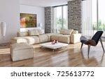 modern bright interiors. 3d... | Shutterstock . vector #725613772