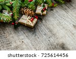 border with christmas... | Shutterstock . vector #725614456
