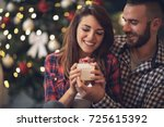 young woman with husband... | Shutterstock . vector #725615392