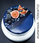 blue chocolate cake covered... | Shutterstock . vector #725616712