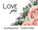 vector floral watercolor style... | Shutterstock .eps vector #725617282