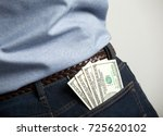 dollar banknotes in man's back... | Shutterstock . vector #725620102