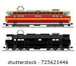 diesel electric locomotive and... | Shutterstock .eps vector #725621446
