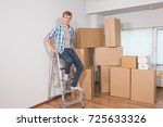 moving to a new apartment.... | Shutterstock . vector #725633326
