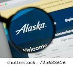 Small photo of Milan, Italy - August 10, 2017: Alaska Air Group website homepage. It is an airline holding company based in SeaTac. Alaska Air Group logo visible.