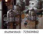 oriental coffee cup   side view ... | Shutterstock . vector #725634862