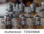 oriental coffee cup   side view ... | Shutterstock . vector #725634868