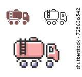 pixel icon of fuel truck in... | Shutterstock .eps vector #725636542
