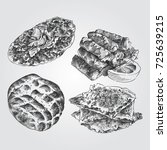 hand drawn turkish cuisine... | Shutterstock .eps vector #725639215