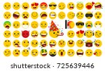 big set of square emoticons... | Shutterstock .eps vector #725639446