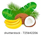 ripe and juice bananas and... | Shutterstock .eps vector #725642206