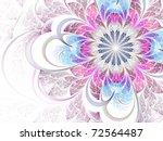 Pink And Blue Fractal Flower...