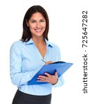business woman with clipboard | Shutterstock . vector #725647282