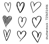 set of nine hand drawn heart.... | Shutterstock .eps vector #725651446