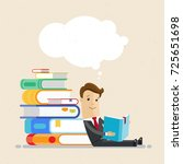 businessman sit on the floor ... | Shutterstock .eps vector #725651698