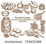 russian cuisine  rassolnik... | Shutterstock .eps vector #725652388
