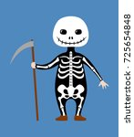 kid wearing skeleton costume... | Shutterstock .eps vector #725654848