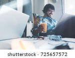 loft coworking place situation. ... | Shutterstock . vector #725657572