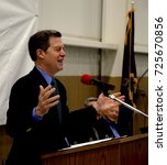 Small photo of Emporia, Kansas, USA, 8th April, 2015 Kansas Governor Sam Brownback with Hostess Brands Chairman Dean Metropoulos today at the Hostess Twinkie plant in Empoira.