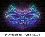 mardi gras masquerade mask.... | Shutterstock .eps vector #725678176